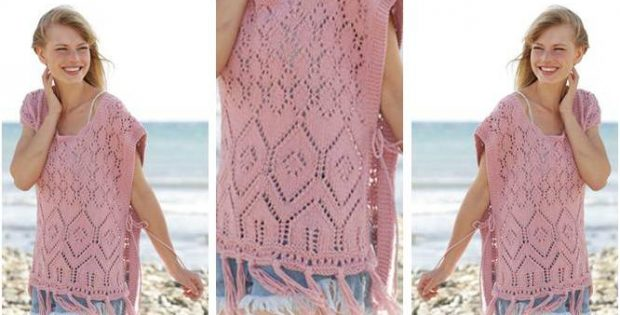 Lovely Rose Smile Knitted Poncho Free Knitting Pattern