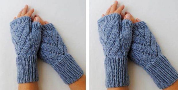 Lovesome Leaves Knitted Fingerless Gloves Free Knitting Pattern