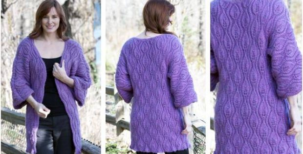 Luscious Leaves Knitted Coat Free Knitting Pattern