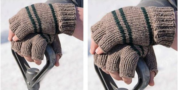 manly knitted fingerless gloves | the knitting space