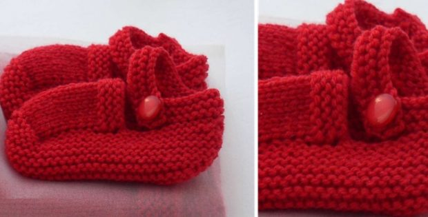 Mary Jane Knitted Baby Booties Free Knitting Pattern
