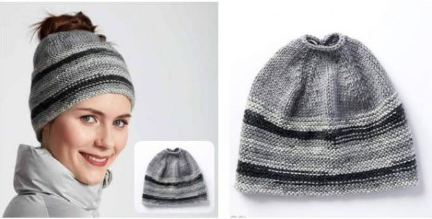 Messy Bun Knitted Beanie  FREE Knitting Pattern  4f23c645ef9