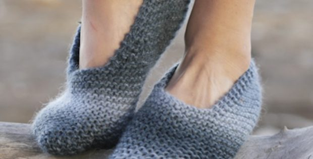 Midnight Storm Knitted Slippers Free Knitting Pattern