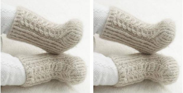 Mini Snow Knitted Baby Boots Free Knitting Pattern