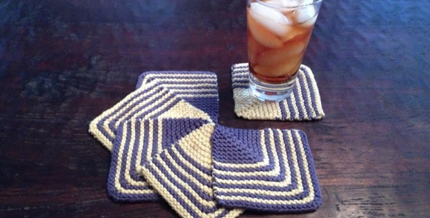 Knitted Mitered Squares Coasters Free Patterntutorial