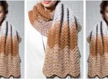 mocha ripple knitted scarf | the knitting space