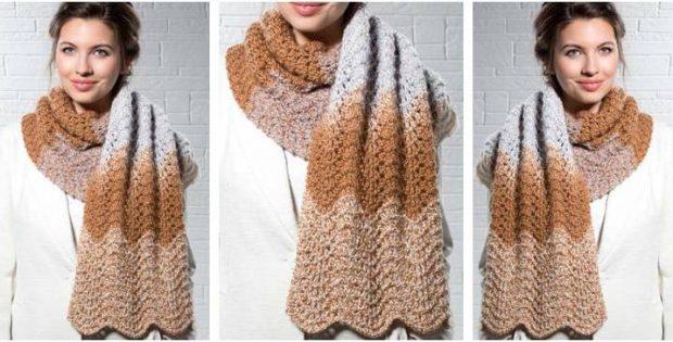 Mocha Ripple Knitted Scarf Free Knitting Pattern