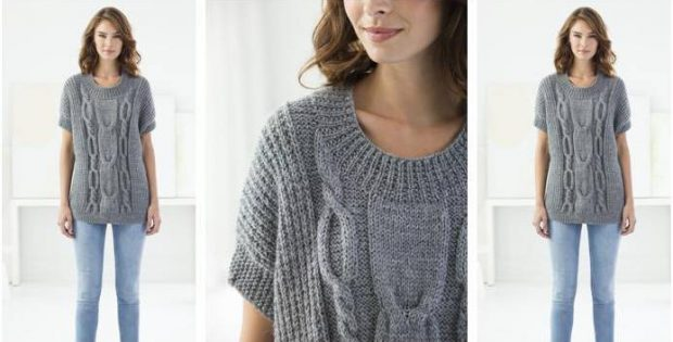 Modern Knitted Cable Pullover Free Knitting Pattern