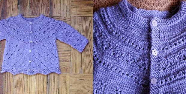 Modified Drops Eyelet Knitted Baby Cardigan Free Knitting Pattern