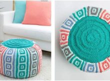 mosaic squares knitted pouf | the knitting space
