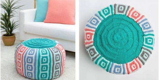 Mosaic Squares Knitted Pouf [FREE Knitting Pattern]