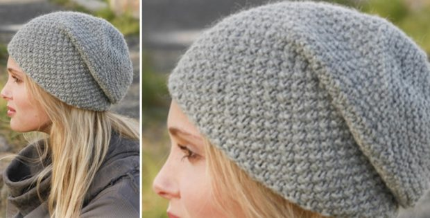 Mossing Knitted Slouch Hat Free Knitting Pattern