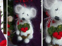 knitted mouse with Christmas pudding | the knitting space