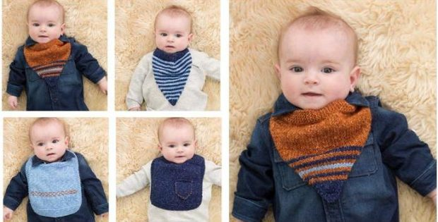 nifty Harper knitted baby bibs | the knitting space