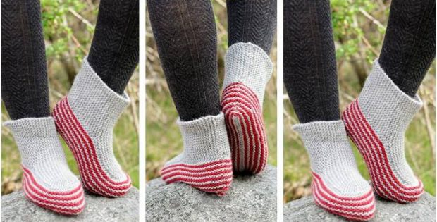nifty Nanna knitted slippers | the knitting space
