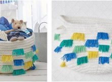 nifty fringed knitted basket | the knitting space