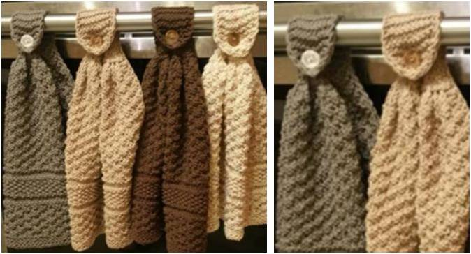 Nifty Knit Hanging Kitchen Towels Free Knitting Pattern