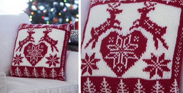 Nordic Knitted Christmas Pillow Free Knitting Pattern