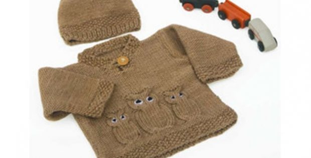 Knitted Owl Baby Sweater And Hat [FREE Knitting Pattern]