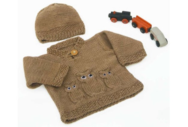 Free Knitting Pattern For Owl Sweater : Knitted Owl Baby Sweater And Hat [FREE Knitting Pattern]