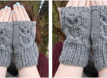 owl knitted fingerless mitts | the knitting space