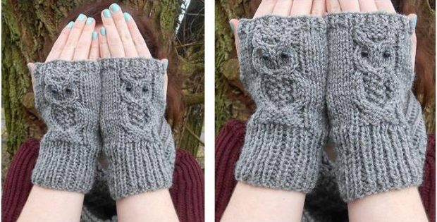 Owl Knitted Fingerless Mitts Free Knitting Pattern