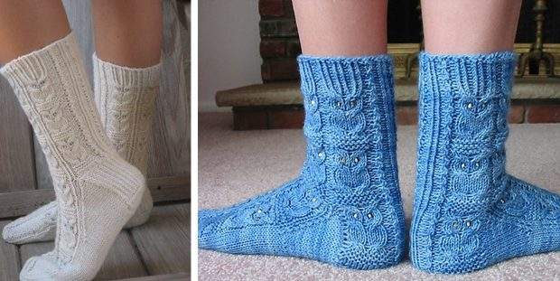 Owlie Knitted Socks With Beads Free Knitting Pattern