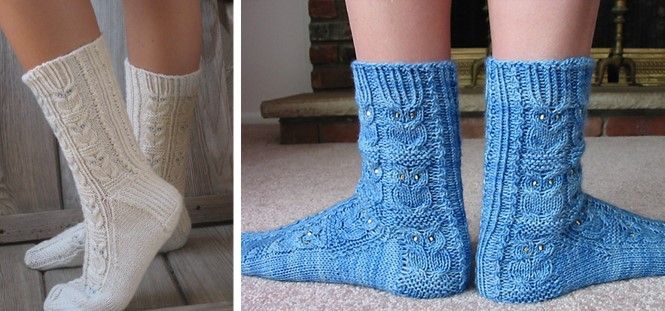 Owlie knitted socks with beads [free knitting pattern].