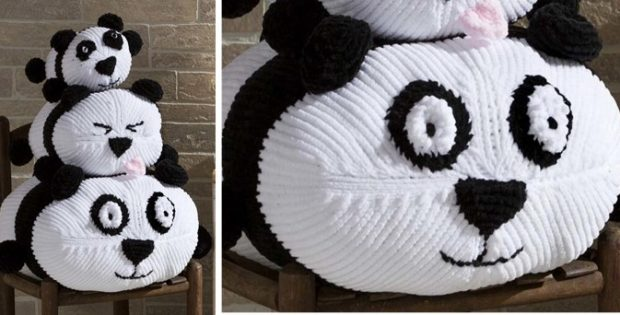 Cuddly knitted panda stack | the knitting space