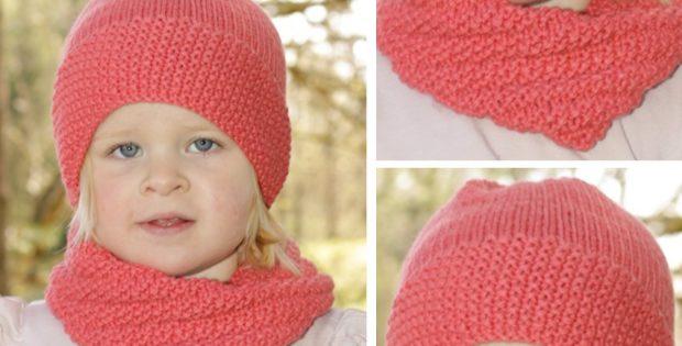 Papaya Punch Knitted Hat And Neck Warmer Free Knitting Pattern