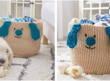 peppy puppy knitted toy basket | the knitting space