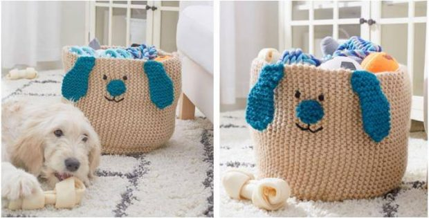 peppy puppy knitted toy basket   the knitting space