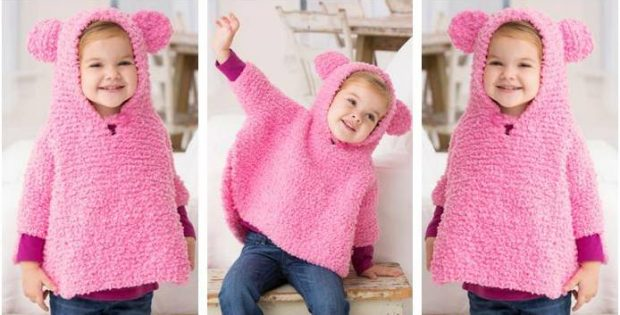 Playful Knitted Hooded Poncho Free Knitting Pattern