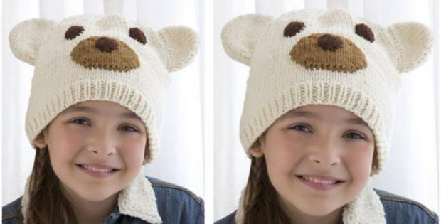Polar Bear Knitted Kiddie Hat Free Knitting Pattern