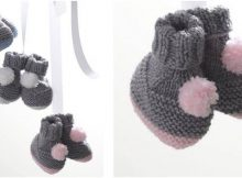 pompom knitted baby booties | the knitting space