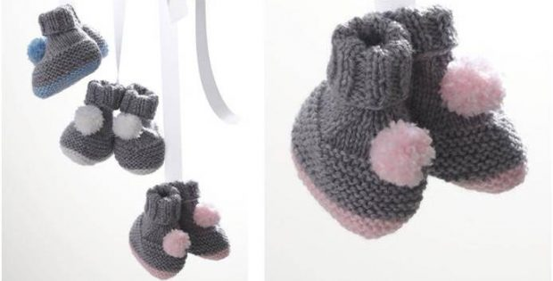 Pompom Knitted Baby Booties Free Knitting Pattern