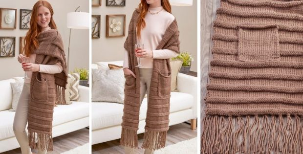 Posh Knitted Super Scarf With Pockets Free Knitting Pattern