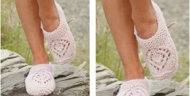 Pretty Sally Knitted Slippers Free Knitting Pattern