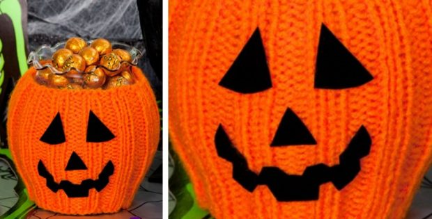 Pumpkin Knitted Bowl Cozy Free Knitting Pattern