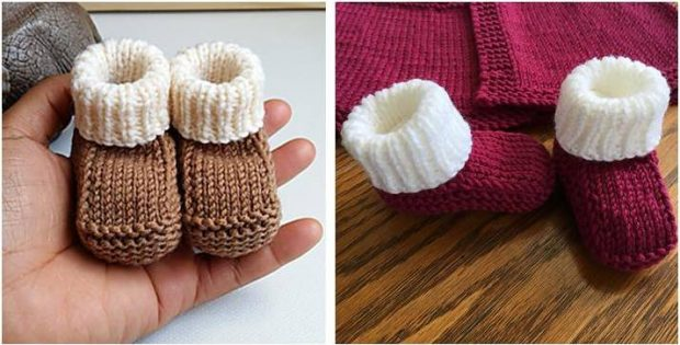 Quick Knitted Newborn Booties [FREE Knitting Pattern]