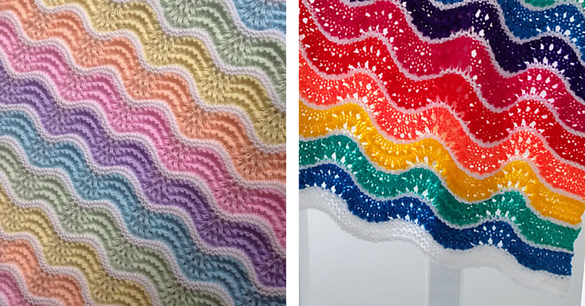 Pastel Rainbow Knitted Baby Blanket Free Knitting Pattern
