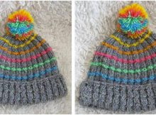 rainbow knitted pompom beanie | the knitting space