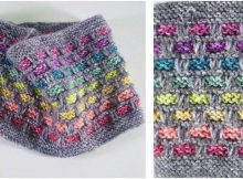 rainbow ribbon knitted cowl | the knitting space