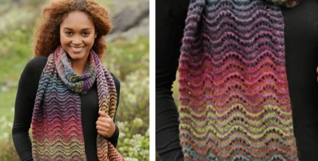 Rainbow Ripples Knitted Scarf Free Knitting Pattern