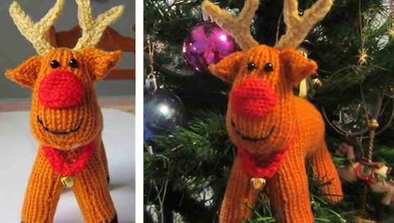 Rex Reindeer Knitted Christmas Ornament Free Knitting Pattern