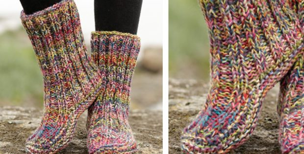 Ribbed Confetti Knitted Slippers Free Knitting Pattern