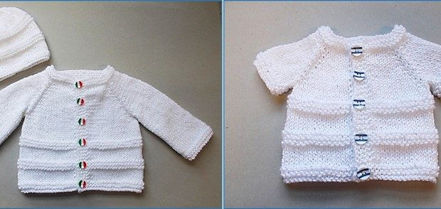 Roma Knitted Baby Cardigan And Hat Free Knitting Pattern