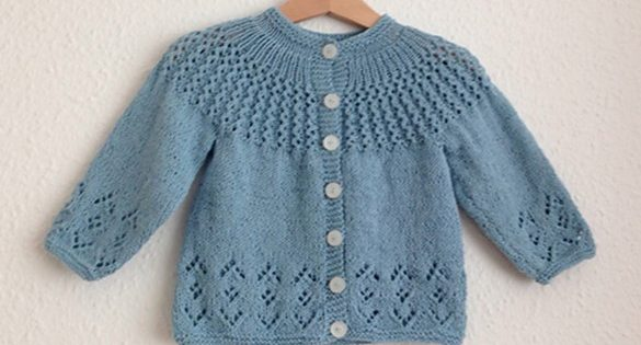Rosabel Knitted Baby Cardigan [FREE Knitting Pattern] Enchanting Free Knitting Patterns For Baby Sweaters