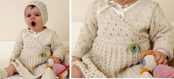 Safran Knitted Baby Dress With Bonnet Free Knitting Pattern