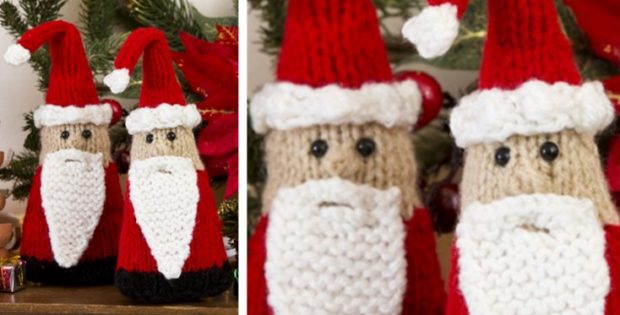 Santa gnome knitted ornaments | the knitting space